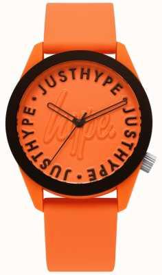 Hype | relógio de homem | pulseira de silicone laranja | mostrador laranja | HYU023O
