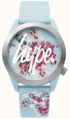 Hype | senhoras assistem | pulseira de silicone azul | mostrador floral | HYL022US
