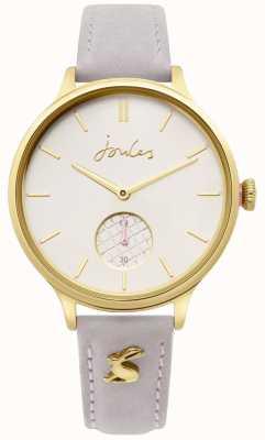 Joules | pulseira de couro cinza senhoras | caixa de ouro | JSL014EG