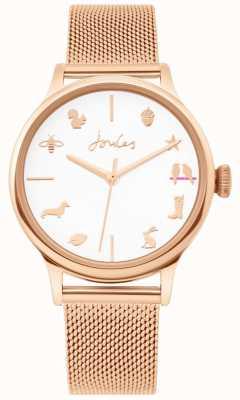 Joules | senhoras assistem | cinta de malha de ouro rosa | mostrador branco | JSL011RGM