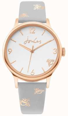 Joules | senhoras subiram caixa de ouro | pulseira de couro cinza bumblebee | JSL016ERG