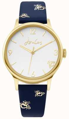 Joules | caso de ouro das senhoras | pulseira de impressão zangão de couro azul | JSL016UG