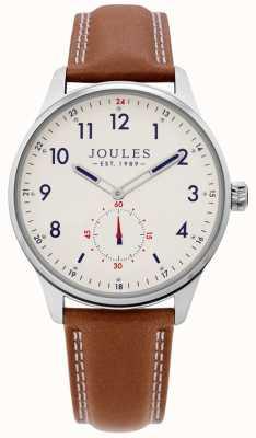 Joules | relógio de grade de mens | pulseira de couro tan | JSG008T