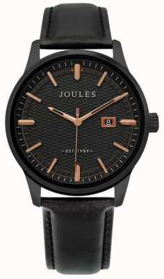 Joules | mens marfield assistir | pulseira de couro preto | mostrador preto | JSG009NB