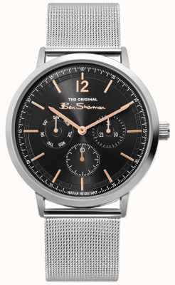 Ben Sherman | mens prata relógio de malha | mostrador preto | BS011ESM