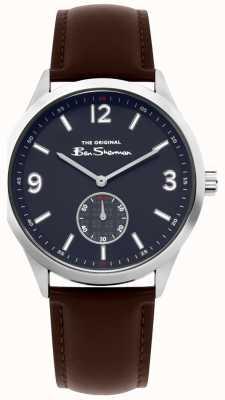 Ben Sherman Relógio de roteiro de couro marrom Mens | BS020BR