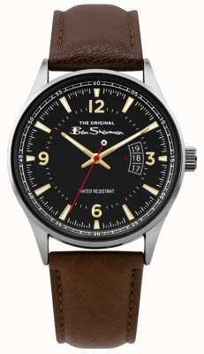 Ben Sherman | relógio de roteiro de couro marrom dos homens | mostrador preto | BS008BR