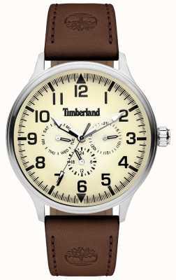 Timberland | blanchard dos homens | pulseira de couro marrom | mostrador de creme | 15270JS/14