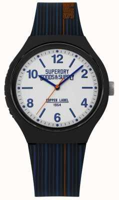Superdry | pulseira de silicone da marinha | mostrador prateado | SYG252U