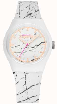 Superdry | pulseira de silicone branco para mulher | impressão cinza | SYL253WE