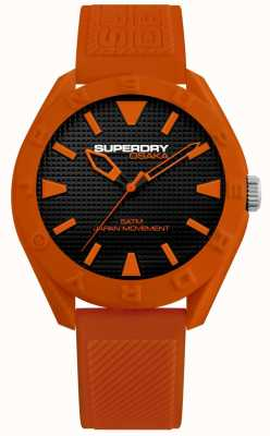 Superdry | osaka | mostrador preto fosco | pulseira laranja texturizada | SYG243O