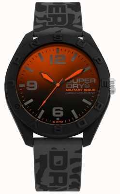 Superdry | osaka | pulseira de silicone cinza camo | mostrador preto orange | SYG242E