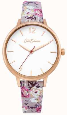 Cath Kidston | relógio de jardim para mulher | mostrador branco | pulseira de couro floral | CKL067ERG