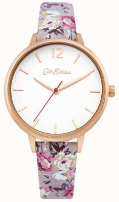 Cath Kidston | relógio de jardim para senhora | mostrador branco | pulseira de couro floral | CKL067ERG