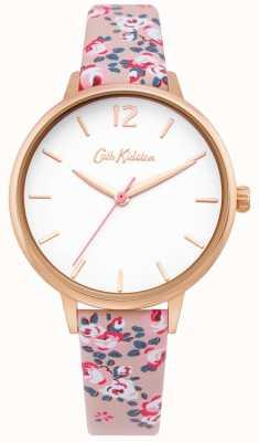 Cath Kidston | relógio de pulso das mulheres | pulseira de couro floral | mostrador branco | CKL067PRG