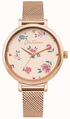 Cath Kidston | relógio bracelete das mulheres ditsy | pulseira de malha de ouro rosa | CKL079RGM