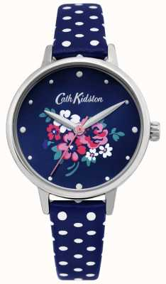Cath Kidston | relógio afortunado do grupo das mulheres | polka dot blue couro | CKL070U