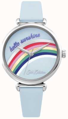Cath Kidston | relógio do arco-íris das mulheres | pulseira de couro azul | mostrador do arco-íris | CKL081U