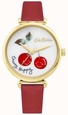 Cath Kidston | mulheres cereja feliz assistir | pulseira de couro vermelho | mostrador branco CKL081RG