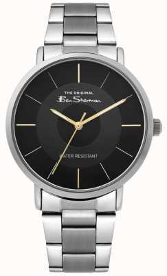 Ben Sherman | relógio do roteiro dos homens | pulseira de aço inoxidável | mostrador preto BS014BSM