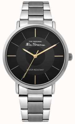 Ben Sherman   relógio do roteiro dos homens   pulseira de aço inoxidável   mostrador preto BS014BSM
