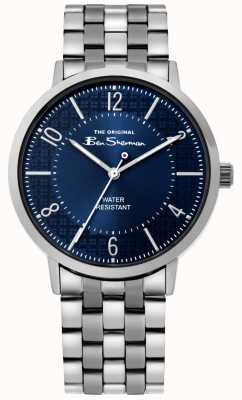 Ben Sherman | relógio do roteiro dos homens | pulseira de aço inoxidável | mostrador azul BS018USM