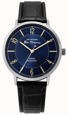 Ben Sherman | relógio do roteiro dos homens | pulseira de couro preto | mostrador azul | BS018B
