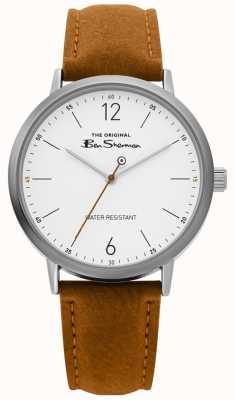 Ben Sherman | relógio do roteiro dos homens | cinta castanha | mostrador branco | BS019T