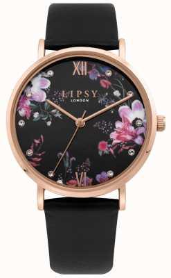 Lipsy | pulseira de pu preto das mulheres | mostrador floral preto | LP644