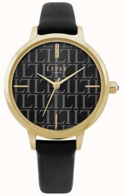 Lipsy | pulseira de couro preto das mulheres | mostrador preto | LP660