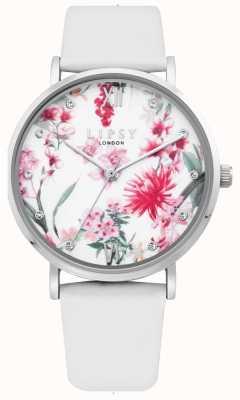 Lipsy | pulseira de couro branco das mulheres | mostrador floral | LP641