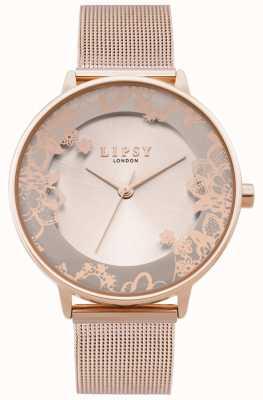 Lipsy | bracelete de malha de ouro rosa para mulher | mostrador em ouro rosa | LP646