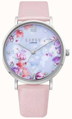 Lipsy | pulseira de couro rosa claro para mulher | mostrador floral | LP656