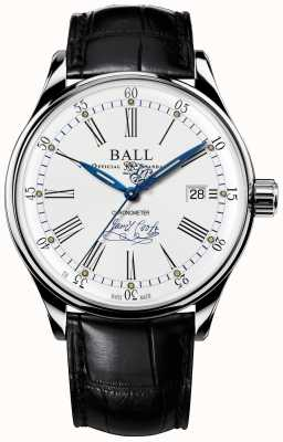 Ball Watch Company Couro de edição limitada do cronômetro do Trainmaster endeavor NM3288D-LL2CJ-WH