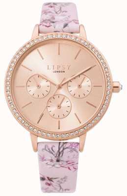 Lipsy | pulseira rosa floral das mulheres | mostrador em ouro rosa | LP648