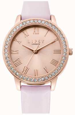 Lipsy | pulseira de couro rosa para mulher | mostrador de raio de sol de ouro rosa | LP655
