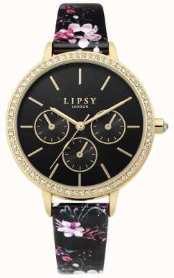 Lipsy | pulseira de couro preto floral das mulheres | mostrador preto | LP647