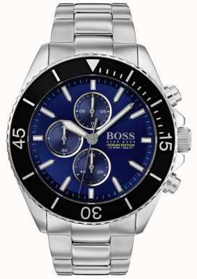BOSS | edição do oceano dos homens | aço inoxidável de prata | mostrador azul | 1513704
