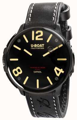 U-Boat Correia de couro preta eletromecânica Capsoil dlc 8108/A