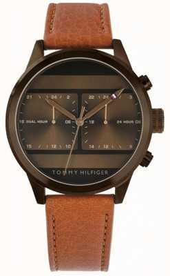 Tommy Hilfiger | pulseira de couro marrom para homem | 1791594