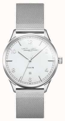 Thomas Sabo | pulseira de malha de prata de aço inoxidável | mostrador branco | WA0338-201-202-40