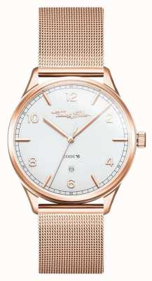 Thomas Sabo | pulseira de ouro rosa em aço inoxidável | mostrador branco | WA0341-265-202-40