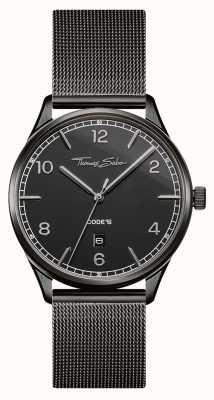 Thomas Sabo | pulseira de malha preta em aço inoxidável | mostrador preto | WA0342-202-203-40