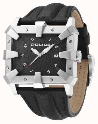 Police Mens pulseira de couro preto mostrador preto PL.93404AEU/02
