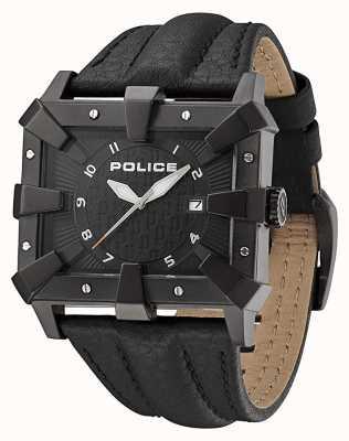 Police Mens pulseira de couro preto mostrador preto PL.93404AEU/02A