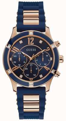 Guess | brisa das mulheres | pulseira de borracha azul | mostrador azul | W1234L4