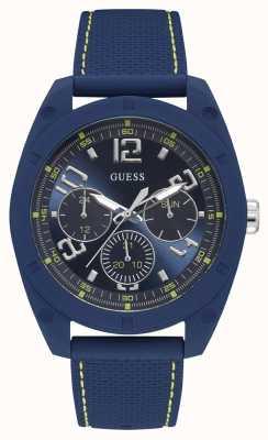 Guess | mens dash | pulseira de borracha azul | mostrador azul | W1256G3