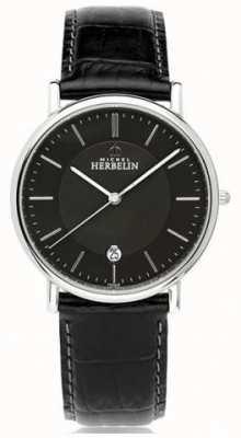 Michel Herbelin Mens classique pulseira de couro preto mostrador preto 12248/14