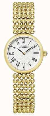 Michel Herbelin Womens 27mm banhado a ouro pulseira de discagem pérola 17483/BP08