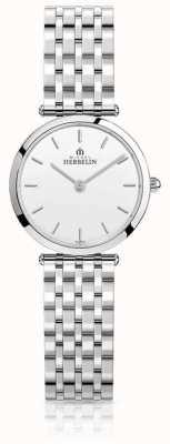 Michel Herbelin Mostrador branco pulseira de aço inoxidável das mulheres epsilon 17116/B11